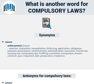compulsory laws, synonym compulsory laws, another word for compulsory laws, words like compulsory laws, thesaurus compulsory laws