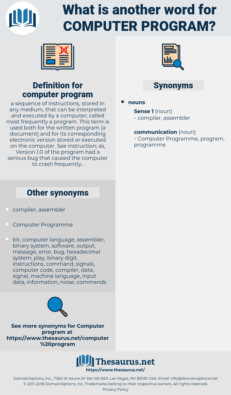 computer program, synonym computer program, another word for computer program, words like computer program, thesaurus computer program