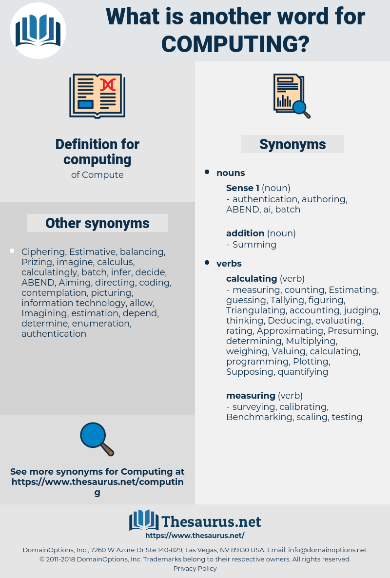 computing, synonym computing, another word for computing, words like computing, thesaurus computing