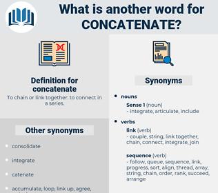 concatenate, synonym concatenate, another word for concatenate, words like concatenate, thesaurus concatenate