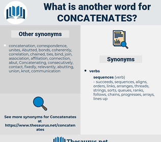 concatenates, synonym concatenates, another word for concatenates, words like concatenates, thesaurus concatenates