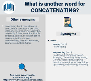 Concatenating, synonym Concatenating, another word for Concatenating, words like Concatenating, thesaurus Concatenating