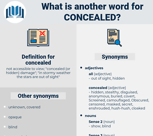 concealed, synonym concealed, another word for concealed, words like concealed, thesaurus concealed