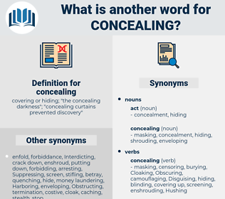 concealing, synonym concealing, another word for concealing, words like concealing, thesaurus concealing