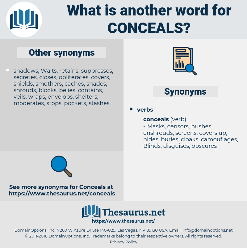 conceals, synonym conceals, another word for conceals, words like conceals, thesaurus conceals
