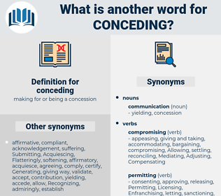 conceding, synonym conceding, another word for conceding, words like conceding, thesaurus conceding