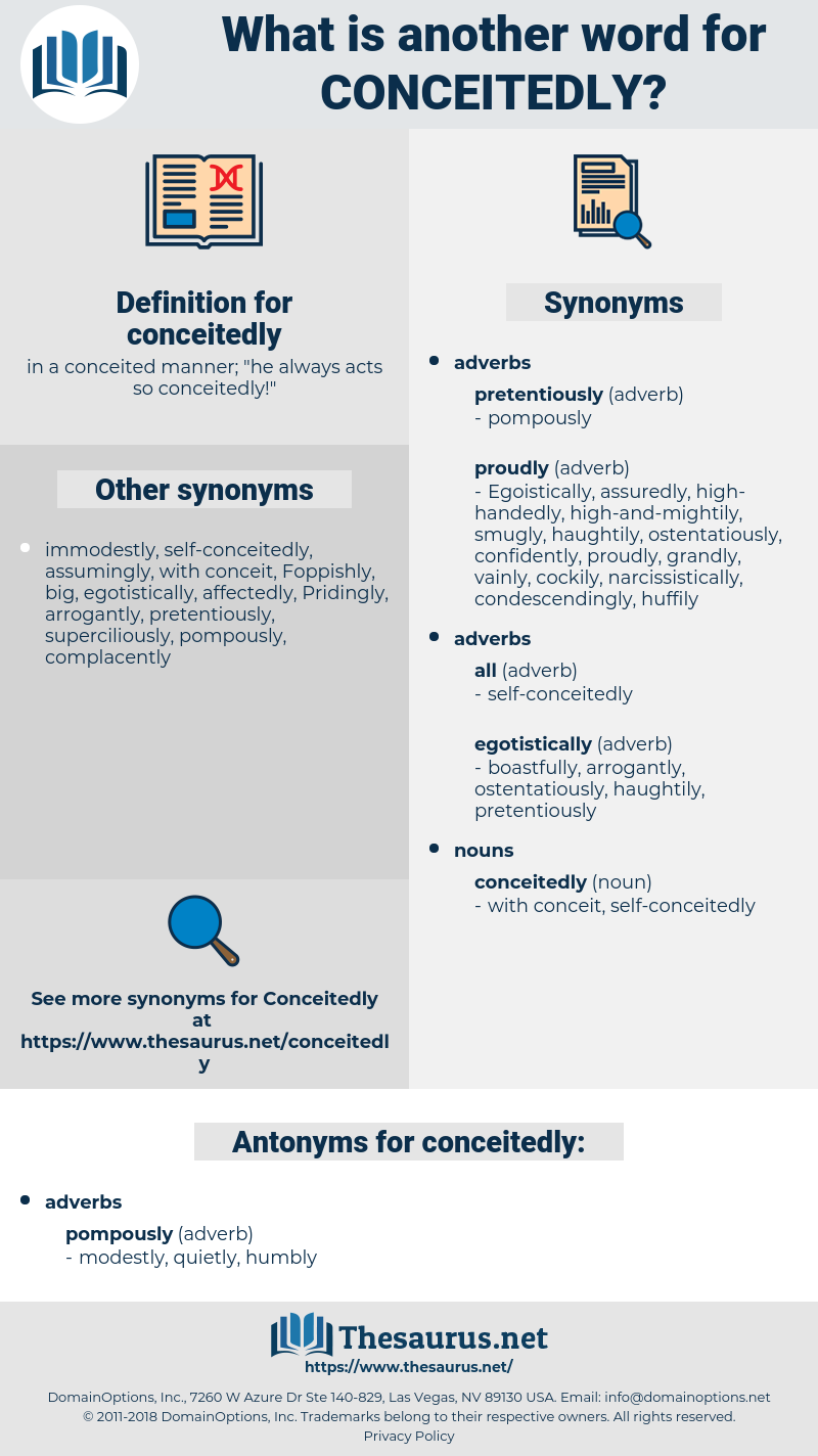 conceitedly, synonym conceitedly, another word for conceitedly, words like conceitedly, thesaurus conceitedly