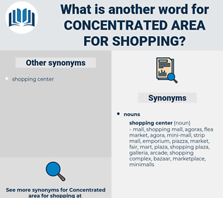 concentrated area for shopping, synonym concentrated area for shopping, another word for concentrated area for shopping, words like concentrated area for shopping, thesaurus concentrated area for shopping