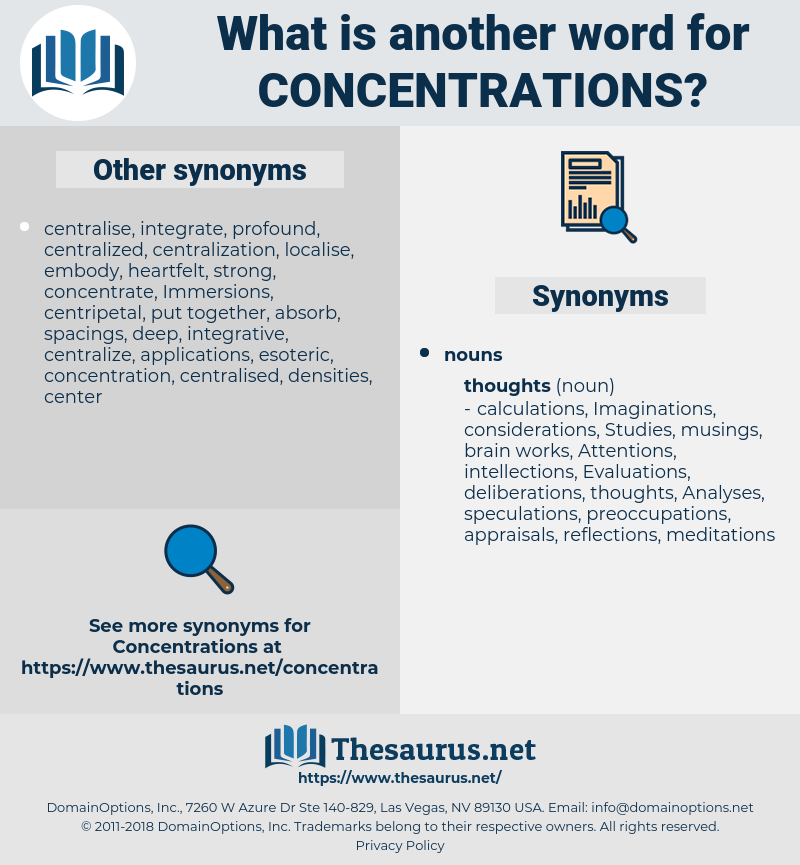 Concentrations, synonym Concentrations, another word for Concentrations, words like Concentrations, thesaurus Concentrations