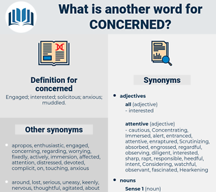 concerned, synonym concerned, another word for concerned, words like concerned, thesaurus concerned