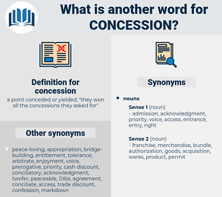 concession, synonym concession, another word for concession, words like concession, thesaurus concession