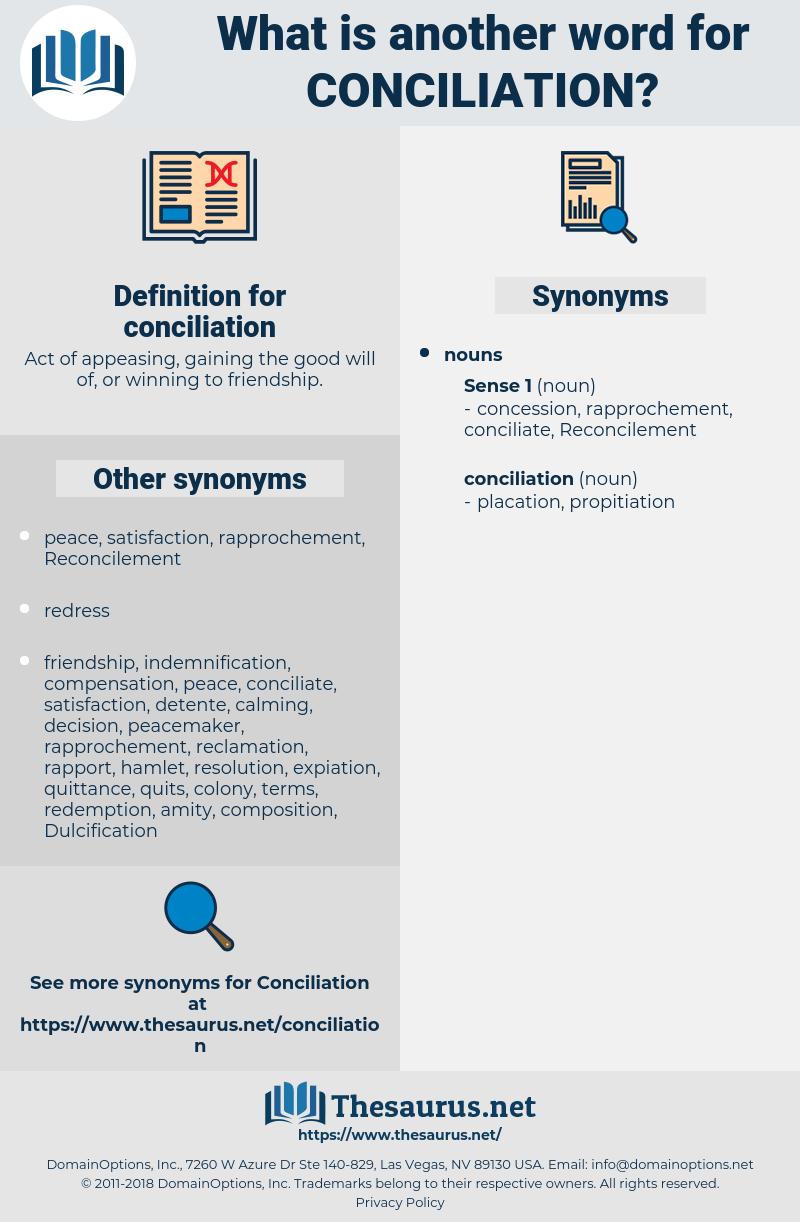 conciliation, synonym conciliation, another word for conciliation, words like conciliation, thesaurus conciliation