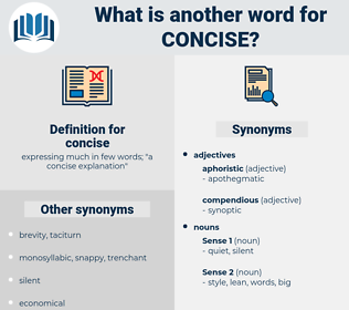 concise, synonym concise, another word for concise, words like concise, thesaurus concise