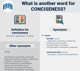 conciseness, synonym conciseness, another word for conciseness, words like conciseness, thesaurus conciseness