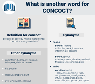 concoct, synonym concoct, another word for concoct, words like concoct, thesaurus concoct