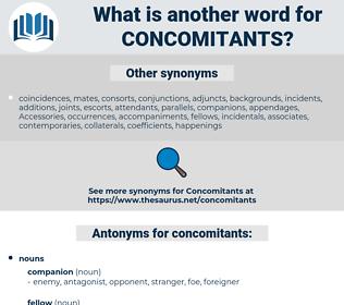 concomitants, synonym concomitants, another word for concomitants, words like concomitants, thesaurus concomitants