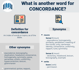 concordance, synonym concordance, another word for concordance, words like concordance, thesaurus concordance