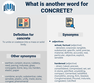 concrete, synonym concrete, another word for concrete, words like concrete, thesaurus concrete