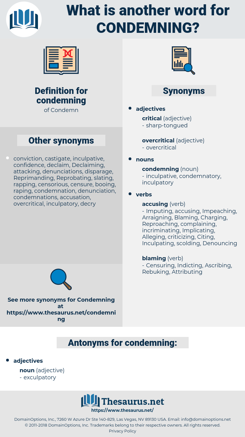 condemning, synonym condemning, another word for condemning, words like condemning, thesaurus condemning