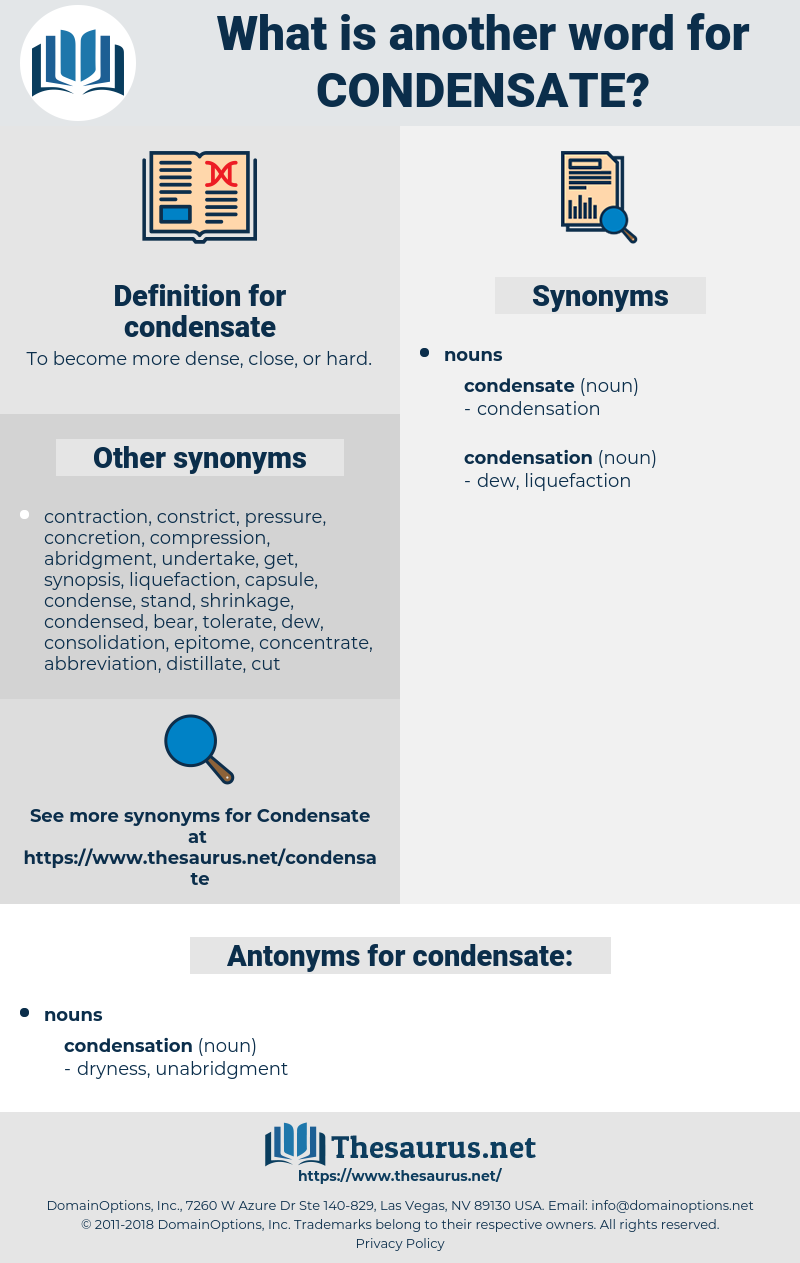 condensate, synonym condensate, another word for condensate, words like condensate, thesaurus condensate