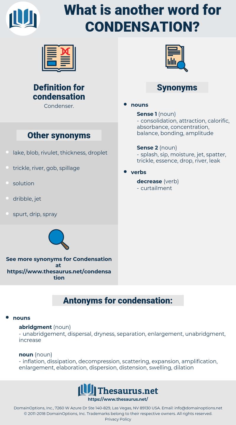 condensation, synonym condensation, another word for condensation, words like condensation, thesaurus condensation