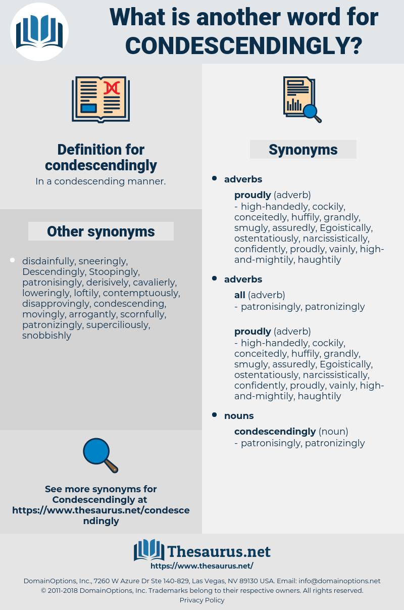 condescendingly, synonym condescendingly, another word for condescendingly, words like condescendingly, thesaurus condescendingly