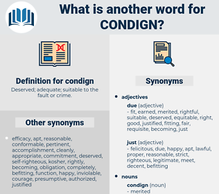 condign, synonym condign, another word for condign, words like condign, thesaurus condign