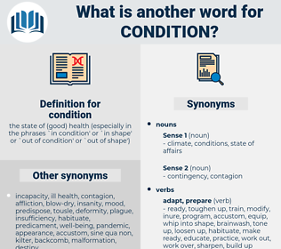 condition, synonym condition, another word for condition, words like condition, thesaurus condition