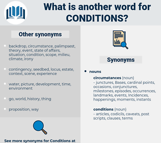 conditions, synonym conditions, another word for conditions, words like conditions, thesaurus conditions