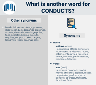 conducts, synonym conducts, another word for conducts, words like conducts, thesaurus conducts