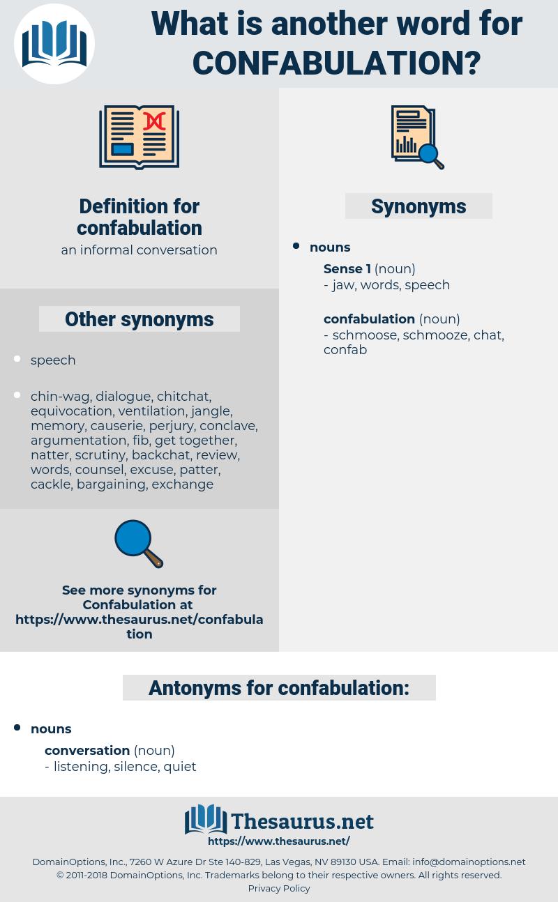 confabulation, synonym confabulation, another word for confabulation, words like confabulation, thesaurus confabulation