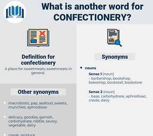 confectionery, synonym confectionery, another word for confectionery, words like confectionery, thesaurus confectionery