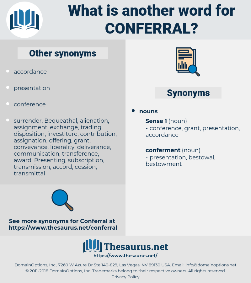 conferral, synonym conferral, another word for conferral, words like conferral, thesaurus conferral