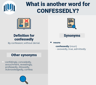 confessedly, synonym confessedly, another word for confessedly, words like confessedly, thesaurus confessedly
