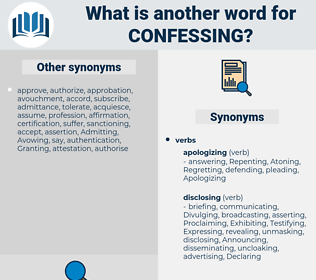Confessing, synonym Confessing, another word for Confessing, words like Confessing, thesaurus Confessing