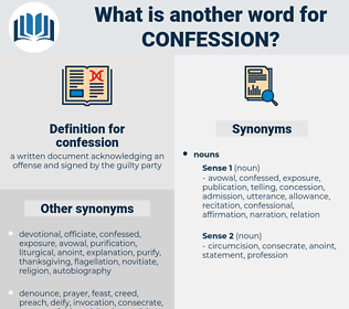 confession, synonym confession, another word for confession, words like confession, thesaurus confession