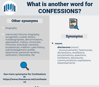 confessions, synonym confessions, another word for confessions, words like confessions, thesaurus confessions