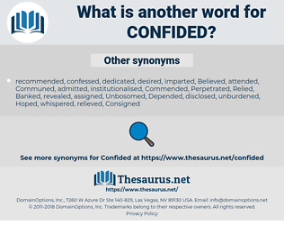 Confided, synonym Confided, another word for Confided, words like Confided, thesaurus Confided