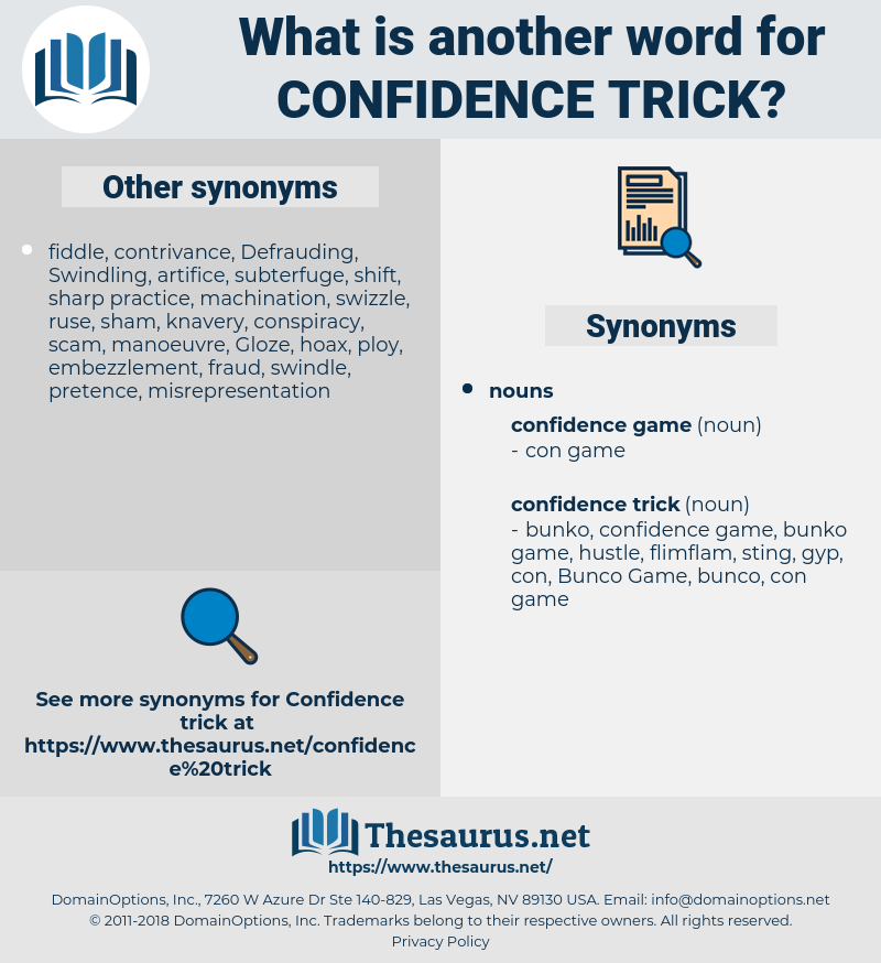 confidence trick, synonym confidence trick, another word for confidence trick, words like confidence trick, thesaurus confidence trick