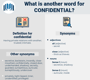confidential, synonym confidential, another word for confidential, words like confidential, thesaurus confidential