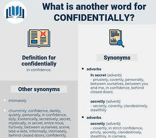 confidentially, synonym confidentially, another word for confidentially, words like confidentially, thesaurus confidentially