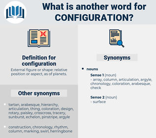configuration, synonym configuration, another word for configuration, words like configuration, thesaurus configuration