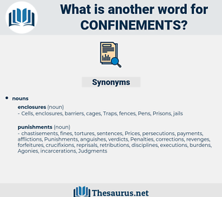 confinements, synonym confinements, another word for confinements, words like confinements, thesaurus confinements