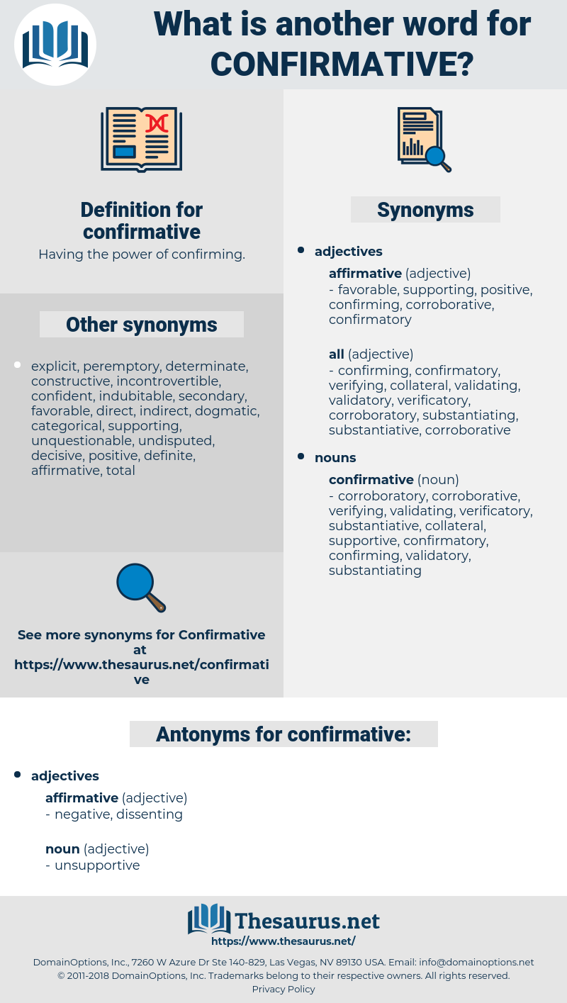 confirmative, synonym confirmative, another word for confirmative, words like confirmative, thesaurus confirmative