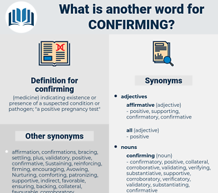 confirming, synonym confirming, another word for confirming, words like confirming, thesaurus confirming