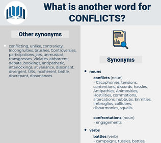 conflicts, synonym conflicts, another word for conflicts, words like conflicts, thesaurus conflicts