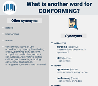 conforming, synonym conforming, another word for conforming, words like conforming, thesaurus conforming