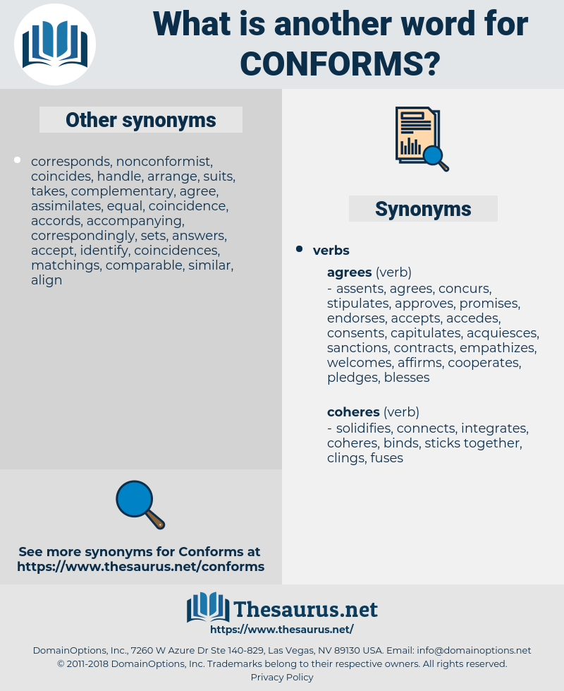 conforms, synonym conforms, another word for conforms, words like conforms, thesaurus conforms