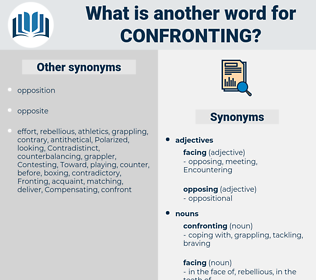 confronting, synonym confronting, another word for confronting, words like confronting, thesaurus confronting
