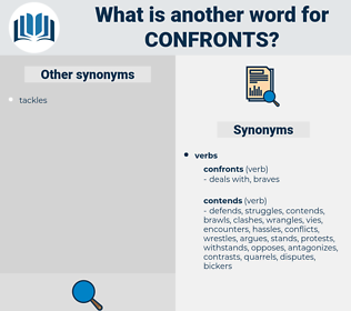 confronts, synonym confronts, another word for confronts, words like confronts, thesaurus confronts